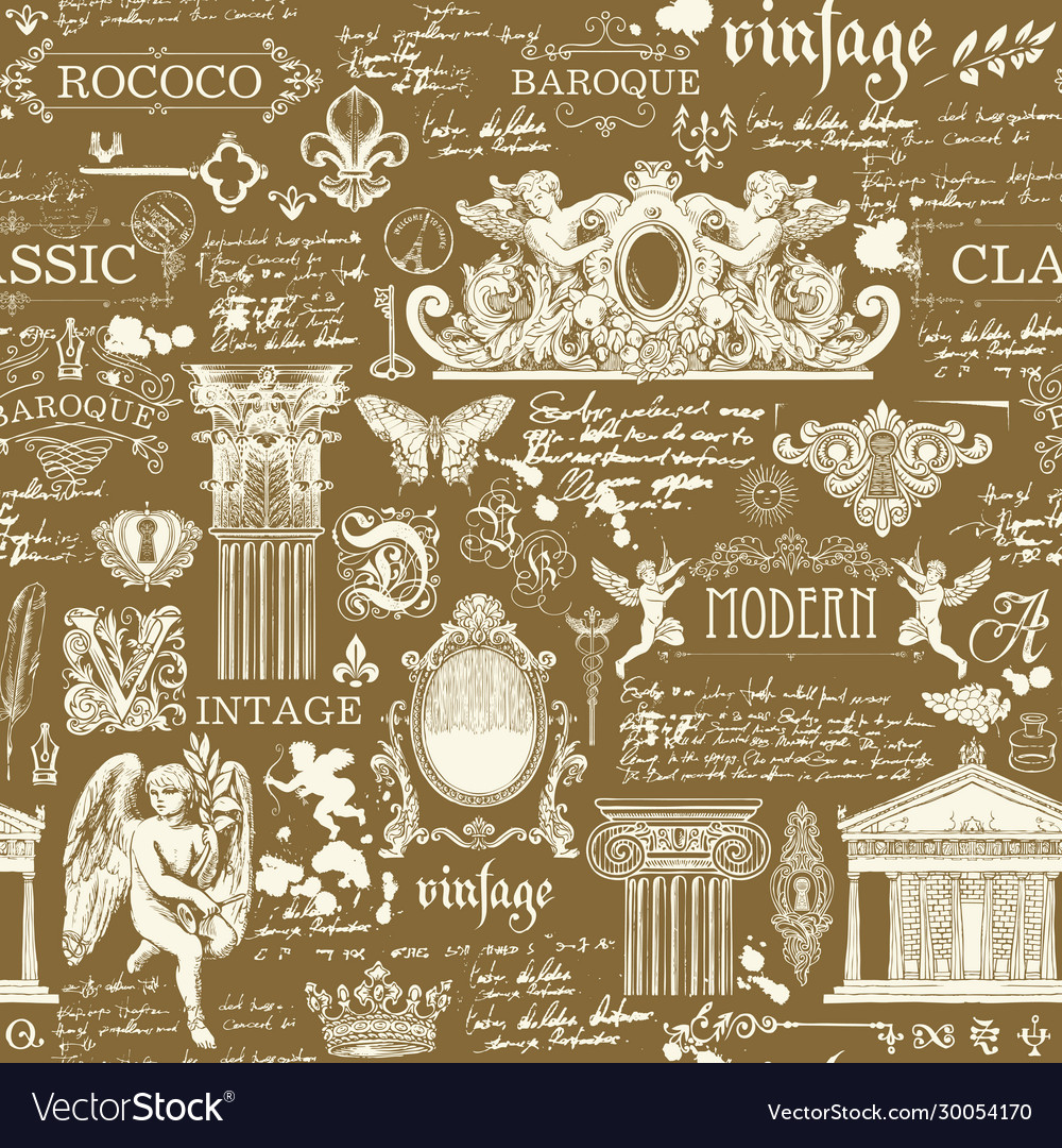 Seamless pattern with sketches and drawings