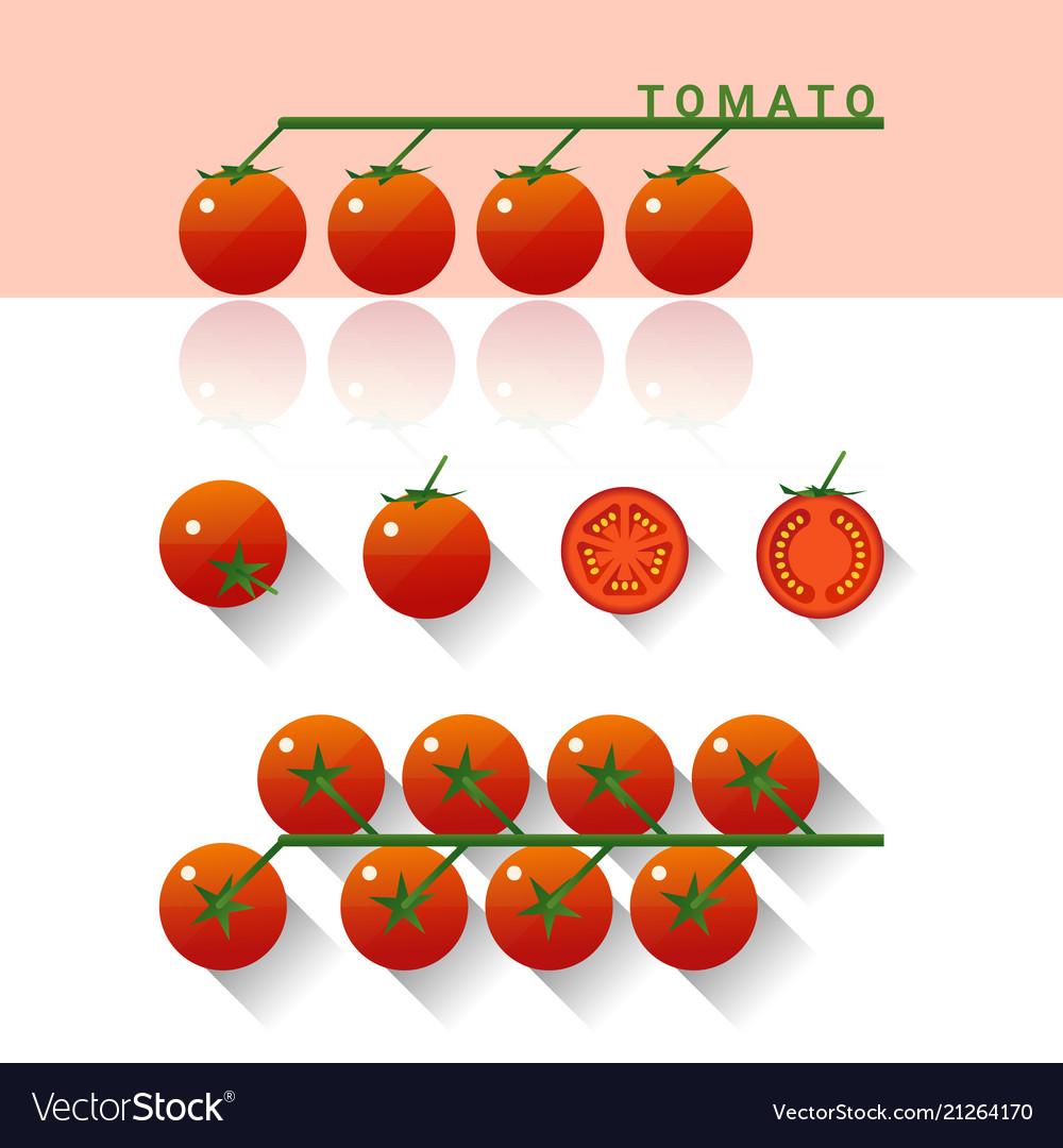 Set fresh tomatoes isolated on white background