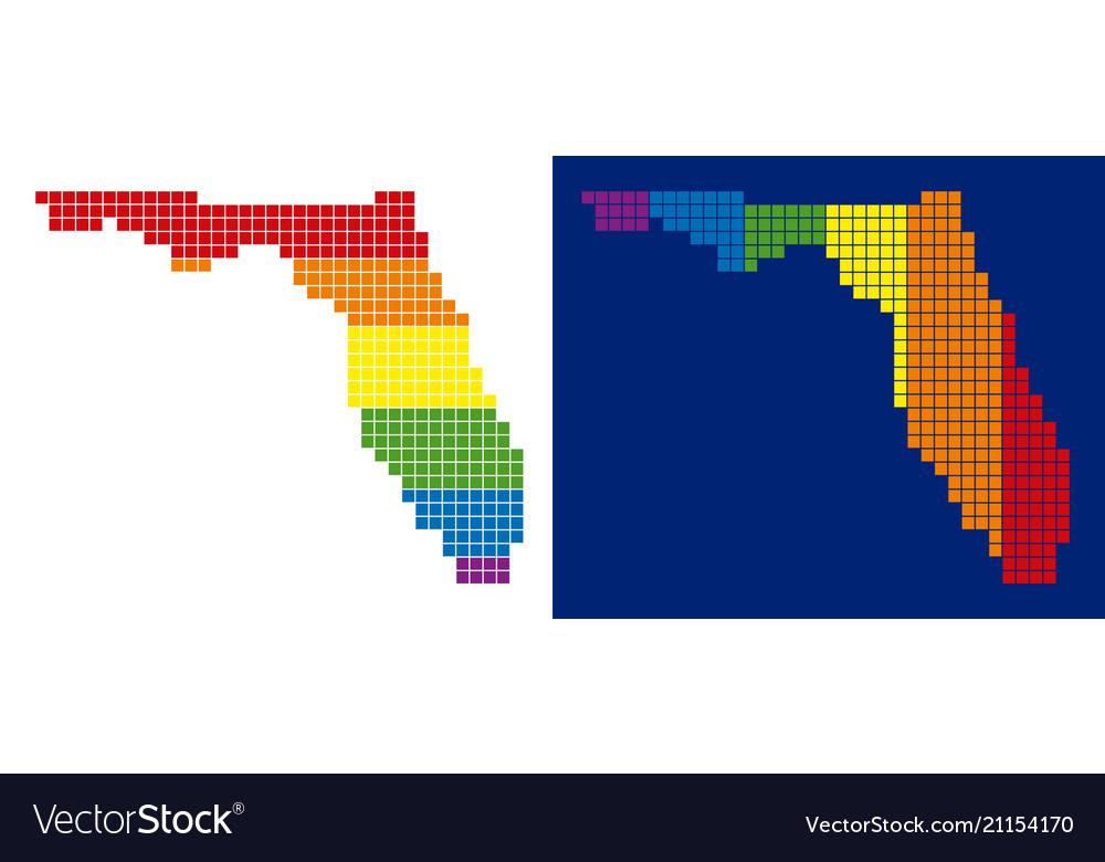 Spectrum pixel dotted florida map vector image