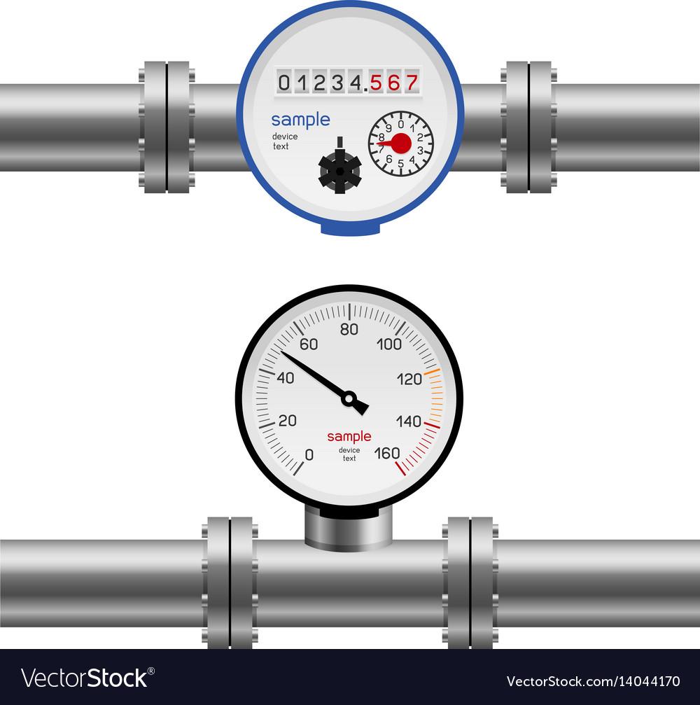 Water pipe pressure meter vector image