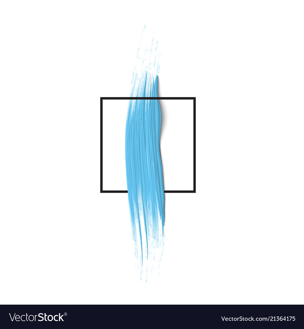 3d blue vertical paint brush stroke with square