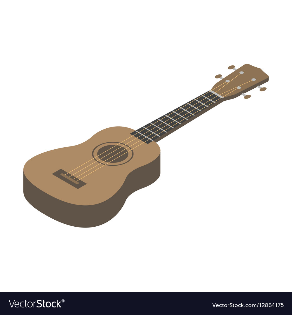 Acoustic bass guitar icon in cartoon style