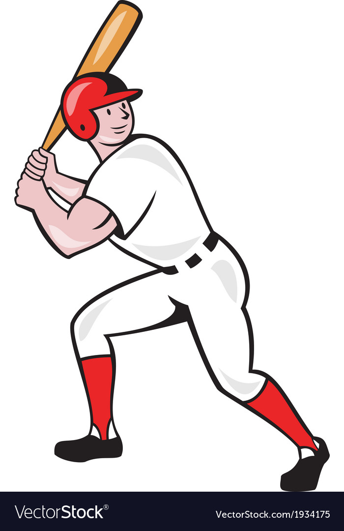 Baseball Player Bat Side Isolated Cartoon