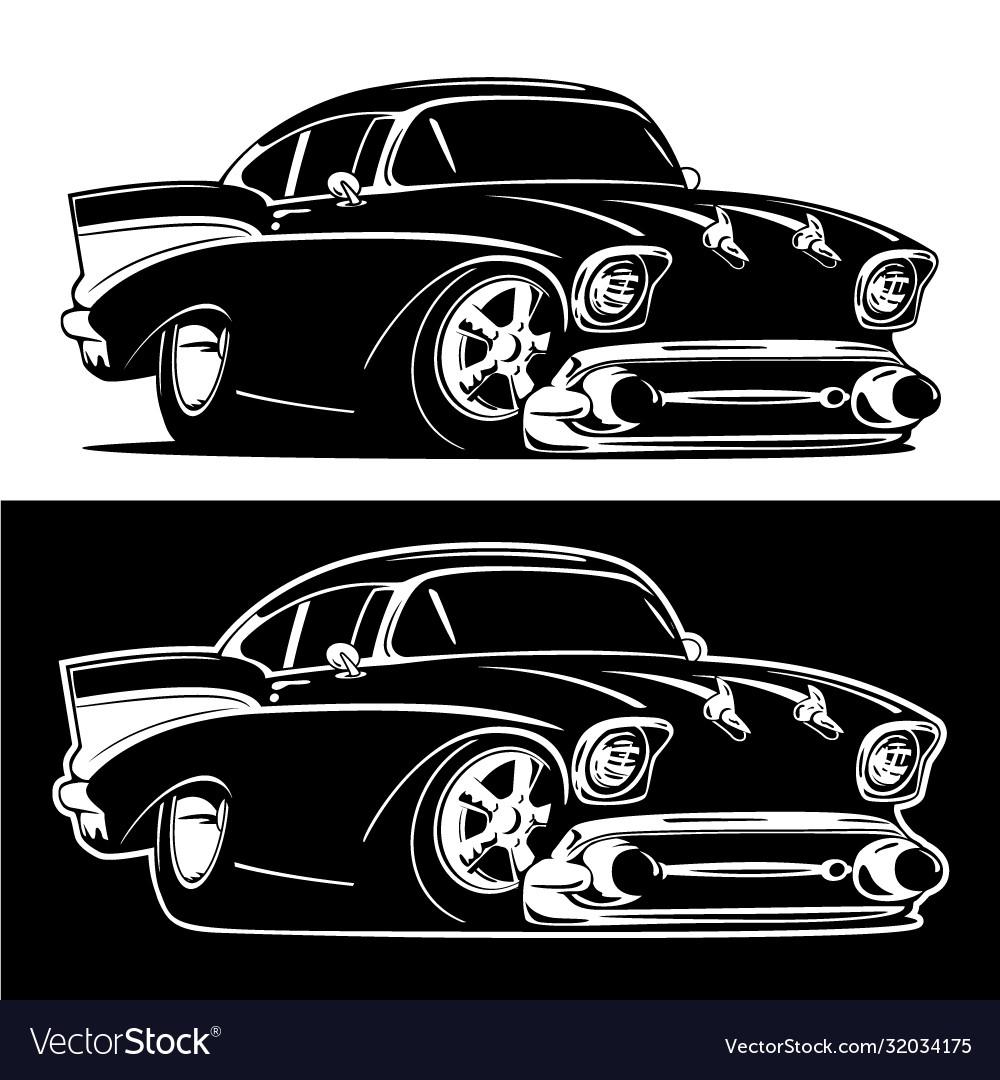 Black and white classic american hot rod cartoon