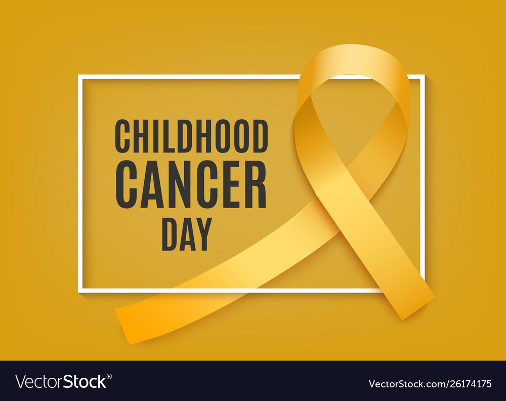 Childhood cancer day banner with yellow curly