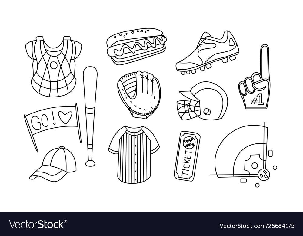 Collection baseball equipment hand drawn