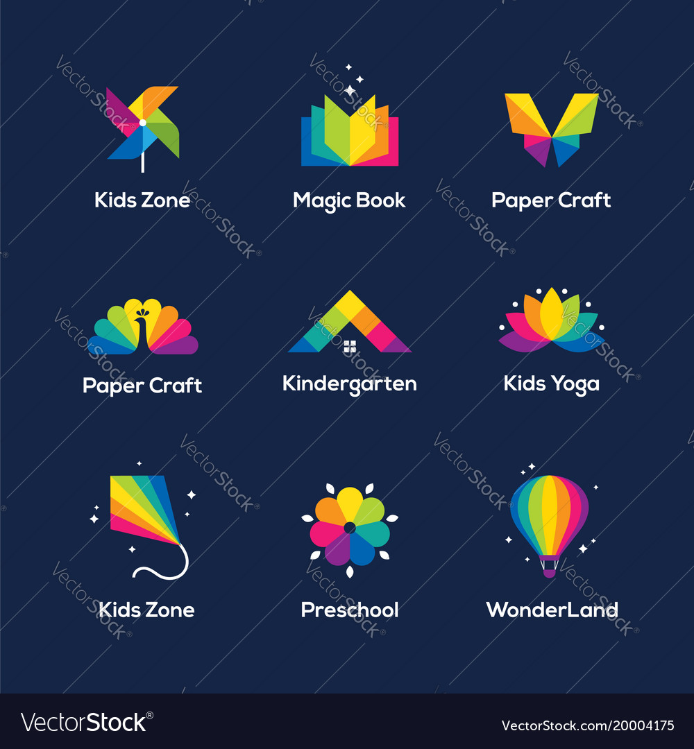 Colorful icons set on dark blue background