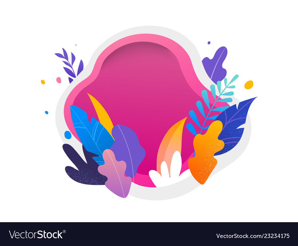 Colorful leaves on white and magenta background