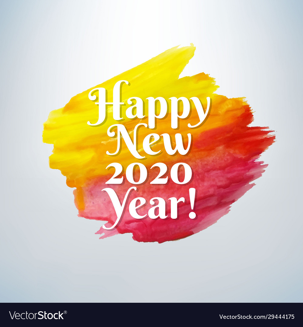 Happy new year card with paint