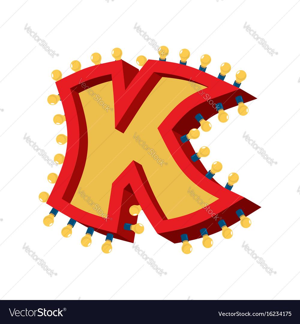 Letter k lamp glowing font vintage light bulb vector image