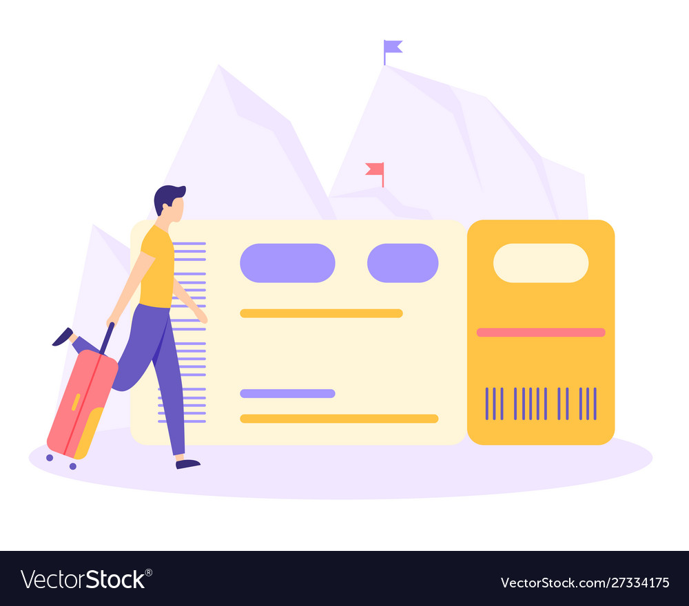 Man suitcase ticket mountain flat concept
