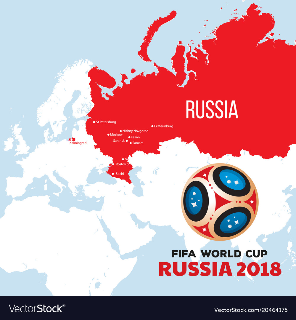Russia Global Map.Russia World Cup 2018 With Map And Royalty Free Vector Image
