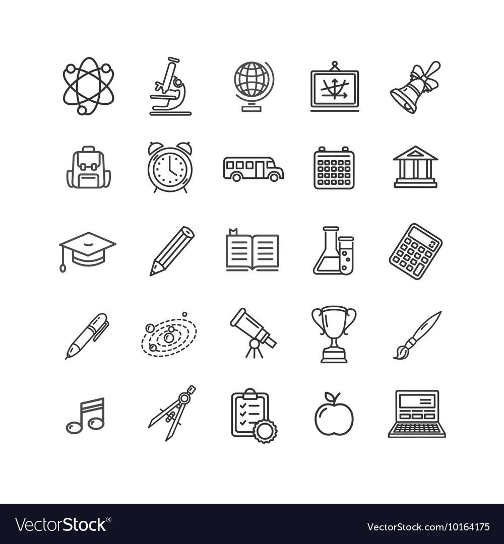 School Outline Icon Set