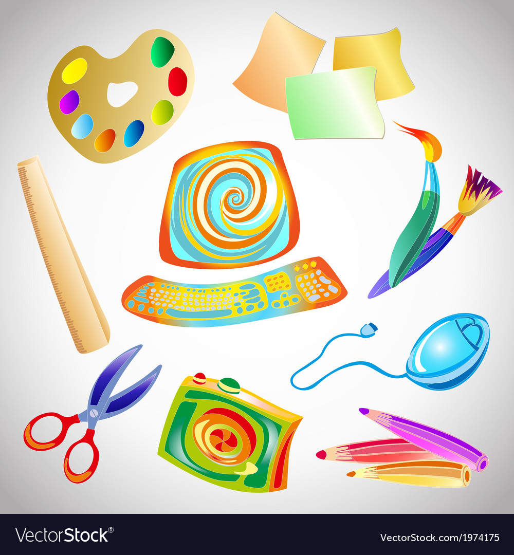 Set of accessories and objects for drawing vector image