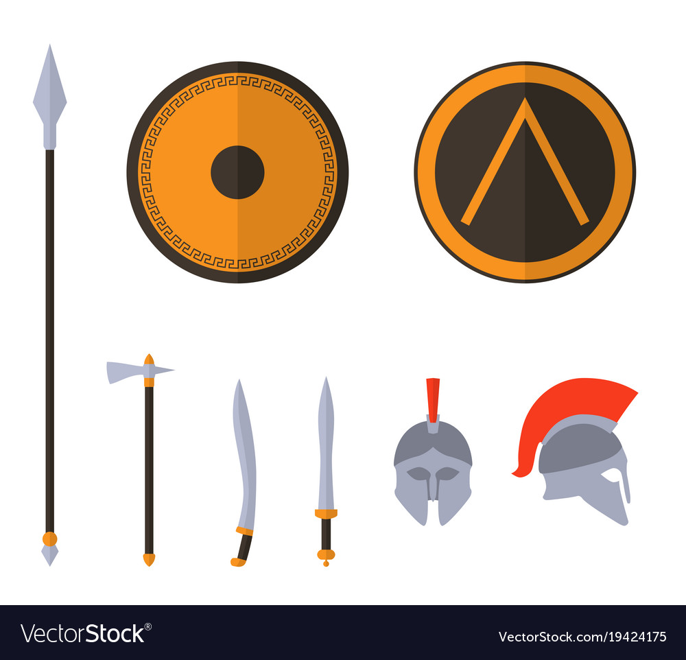 Set of ancient greek spartan weapon and