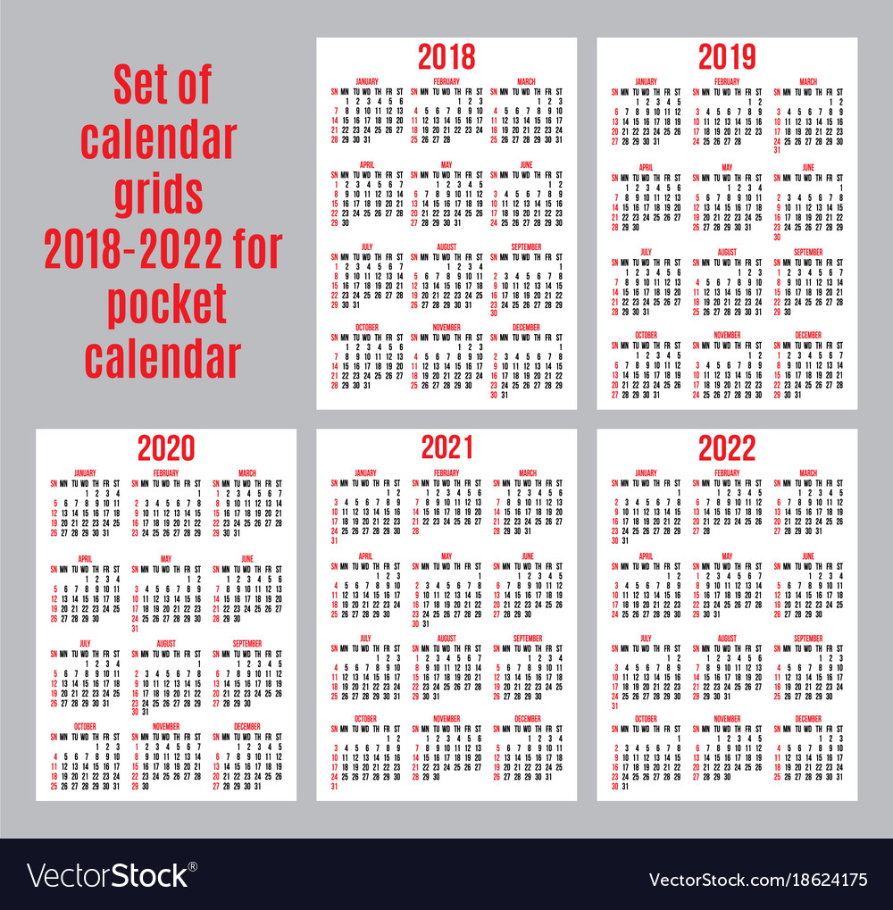set of calendar grid for years 2018 2022 for vector image