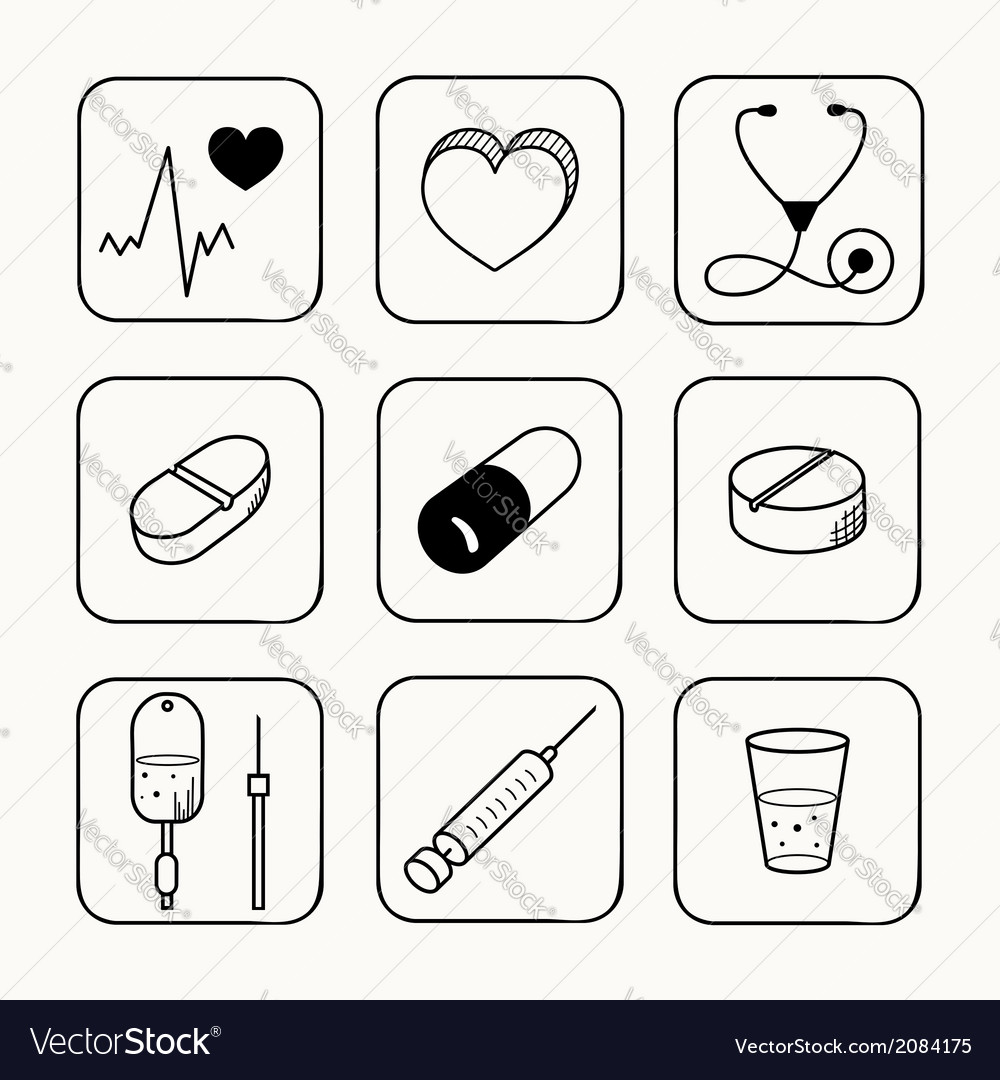 Simple medical icons set vector image