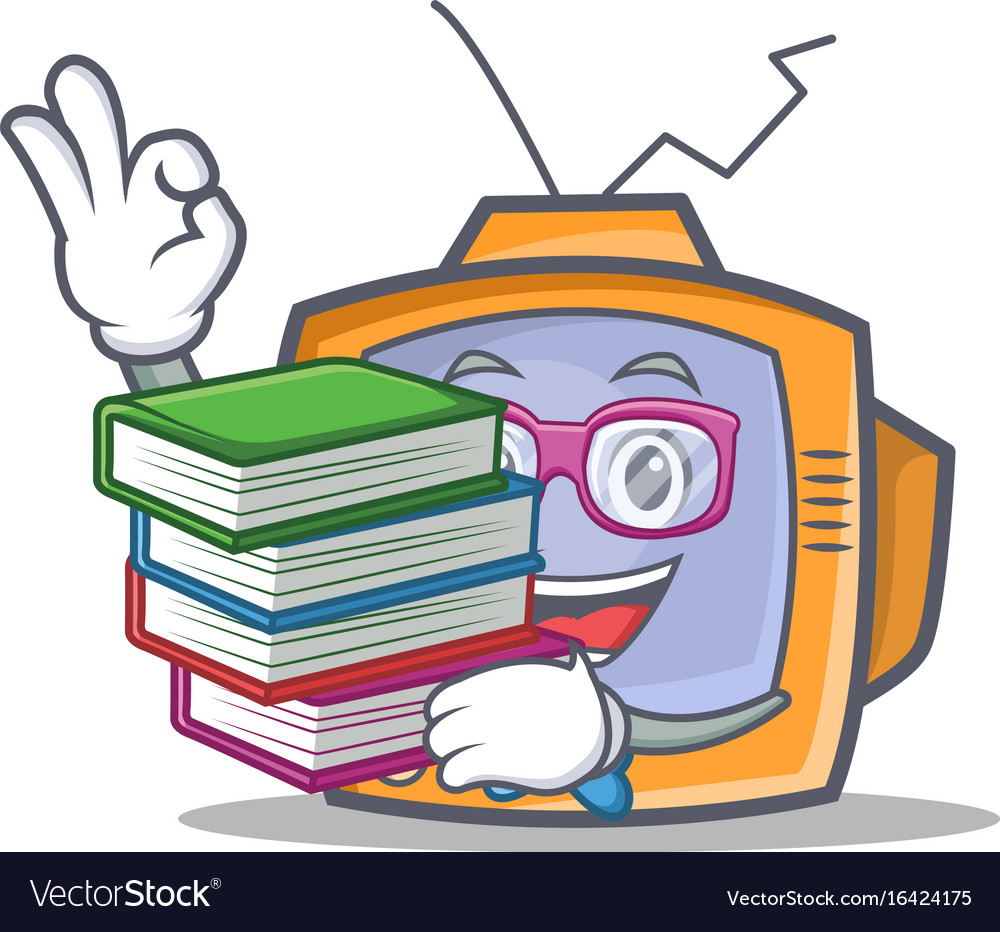 Student tv character cartoon object with book vector image