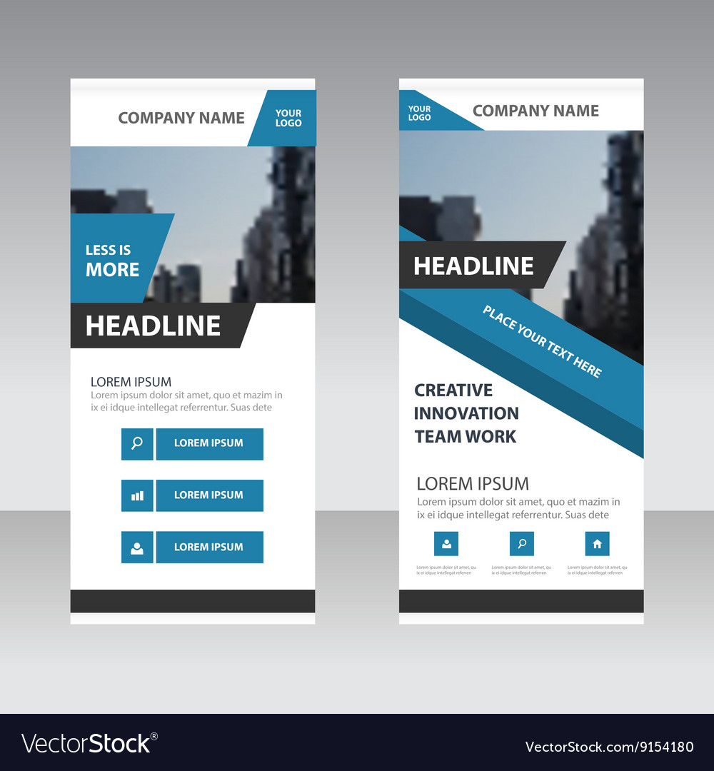 Blue corporate Roll Up Banner template design