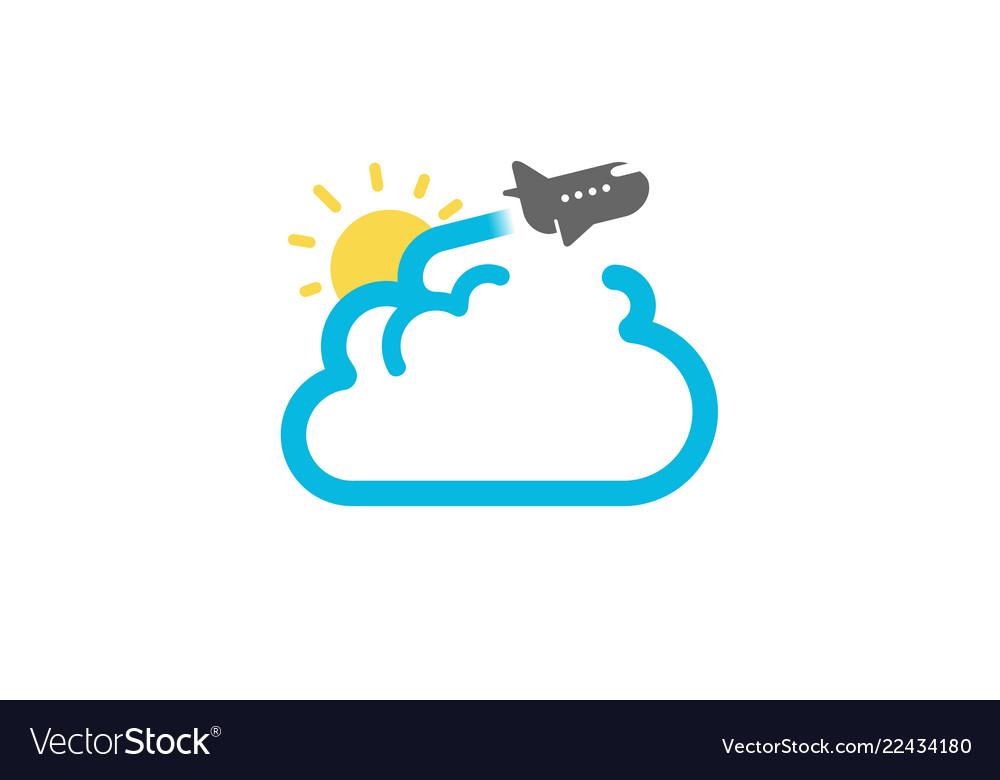 Cloud travel flight airplane creative air logo