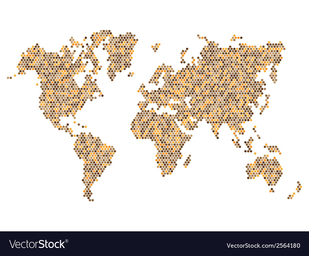 Dotted Brown World Map Isolated on White