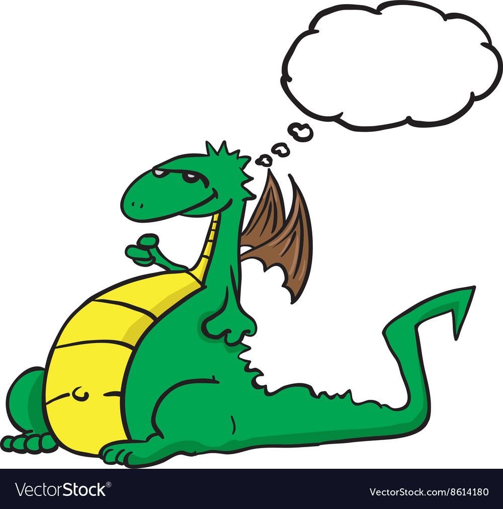 Dragon with thought bubble