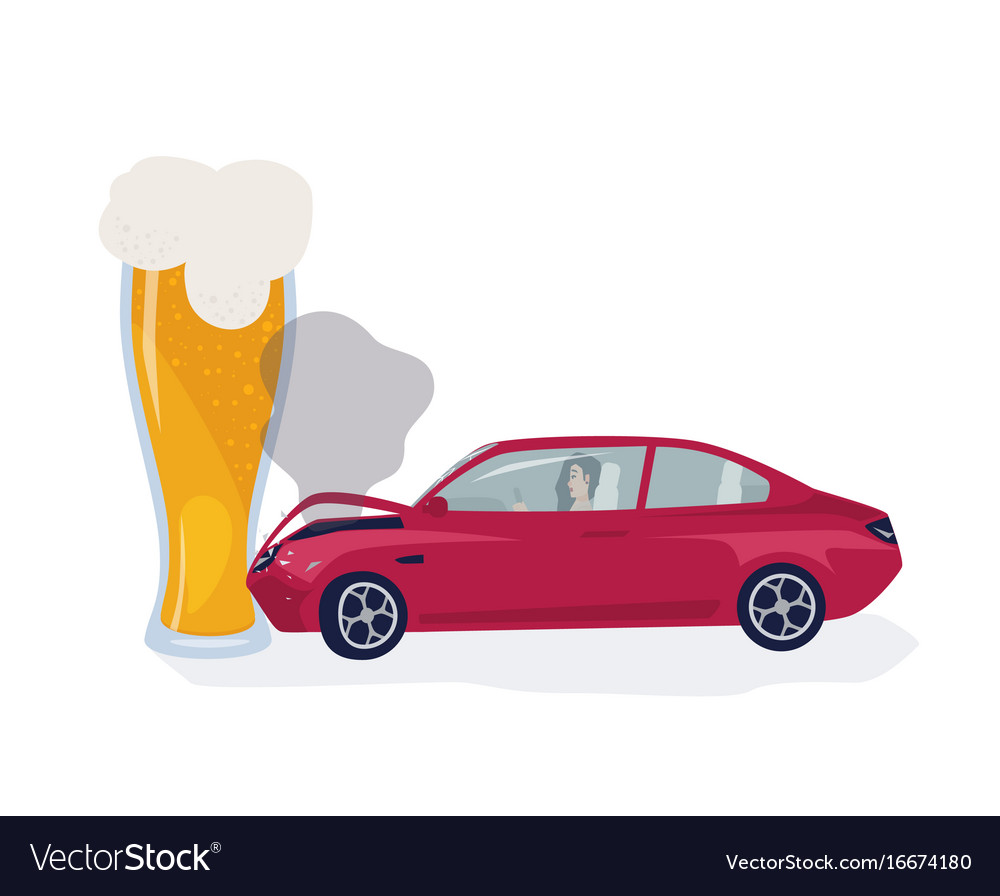 Drunk driver concept car crached into beer glass