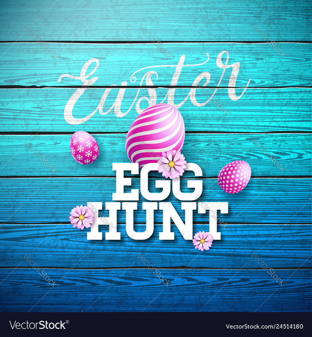 Easter egg hunt with flower and