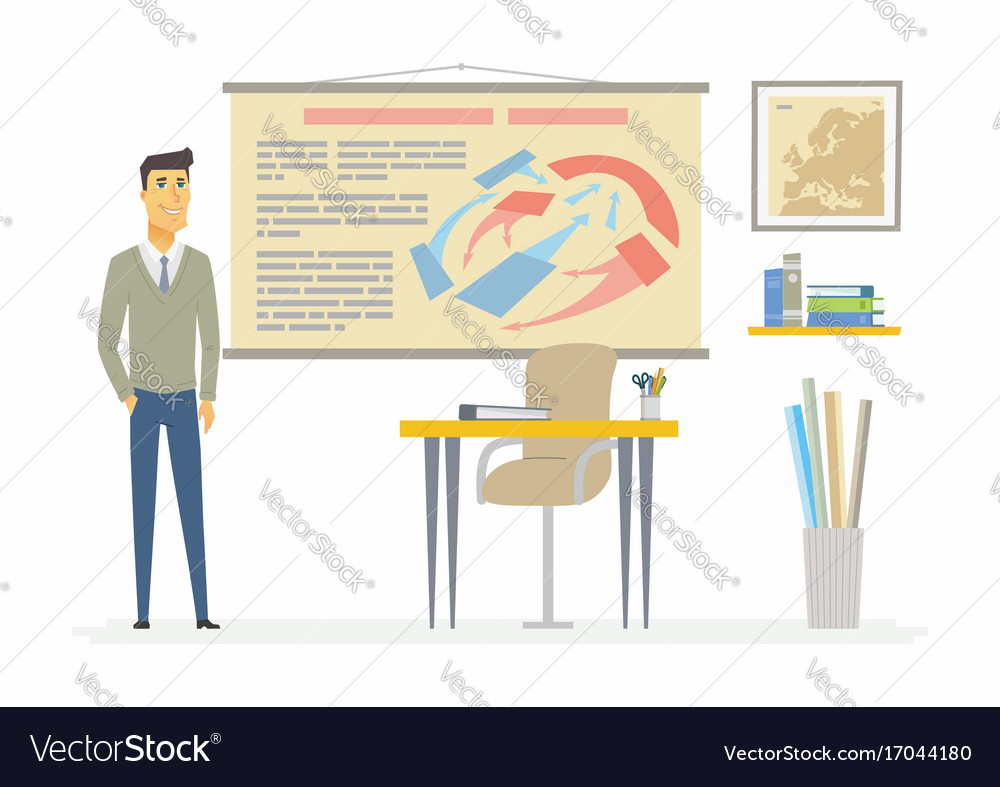 History teacher - modern cartoon people characters vector image