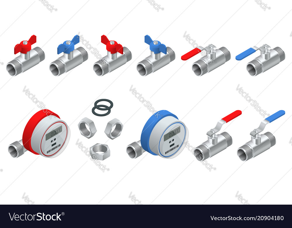 Isometric set of water meters for cold and warm