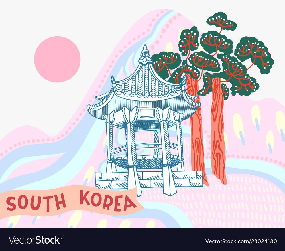 Korean landscape with building