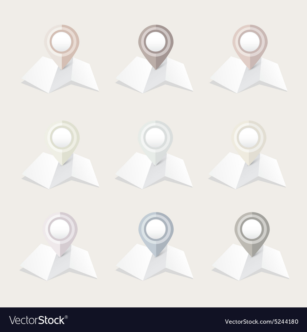 Pastel location map pointer icon collection