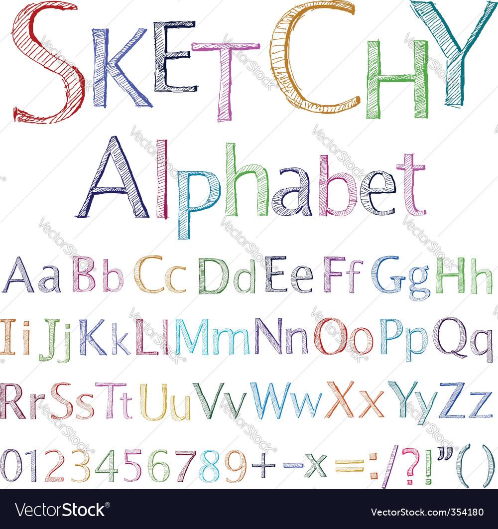 Sketchy alphabet vector image