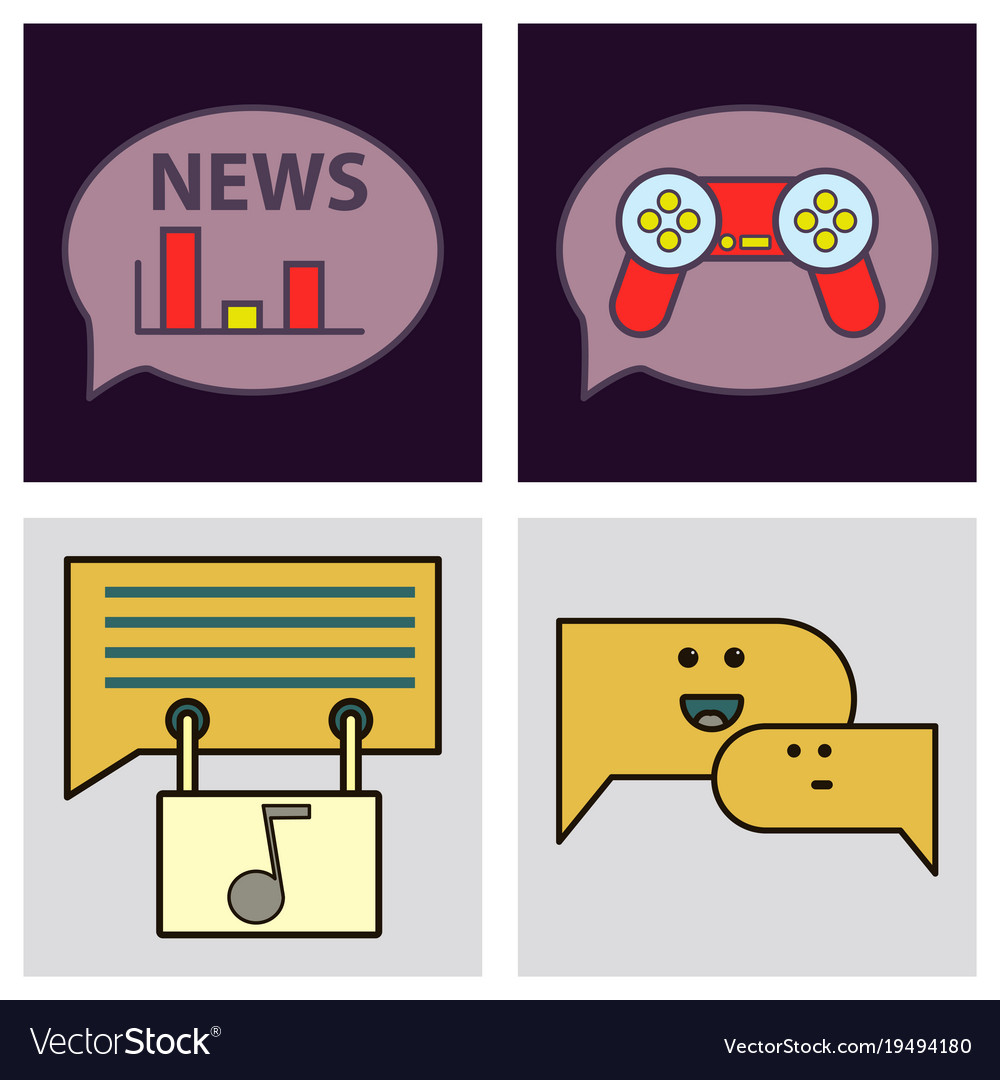 Social media icons in speech bubbles with group