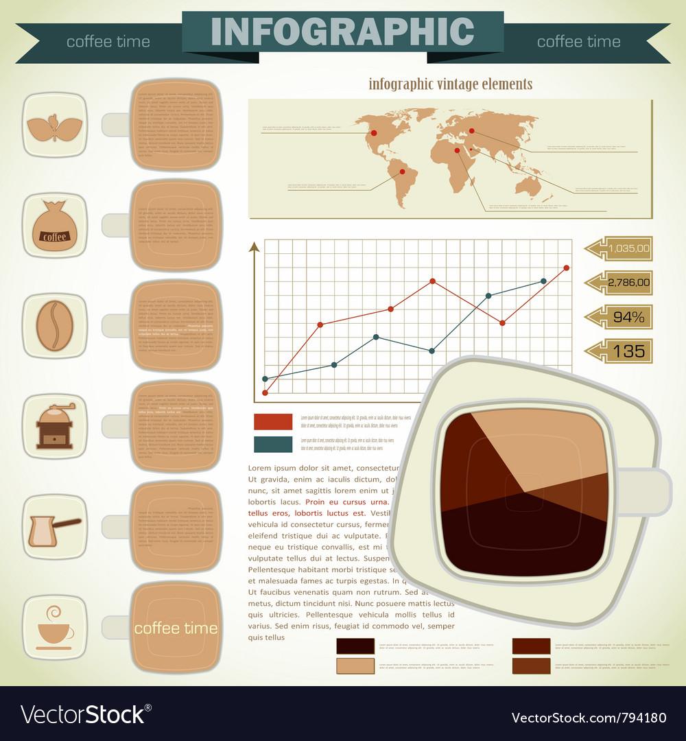 Vintage infographics coffee icons