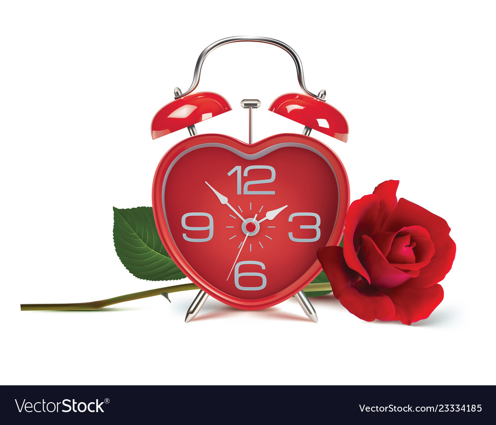 Alarm clock and rose on white realistic 3d