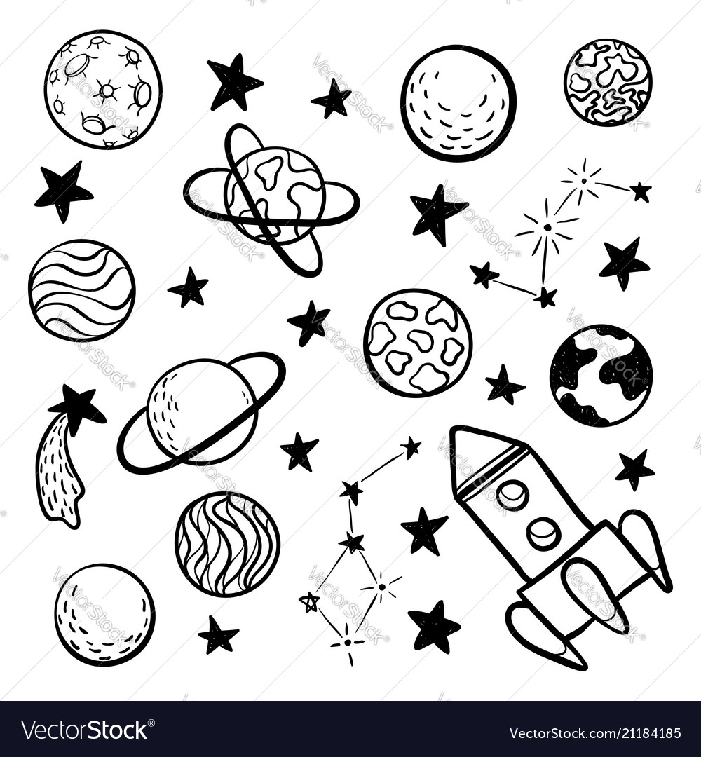 Big set of hand drawn doodle space elements space