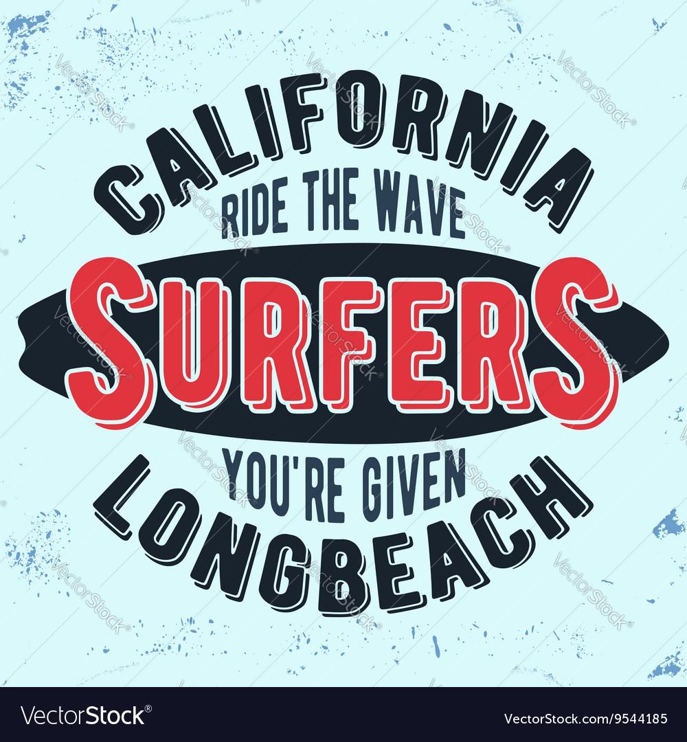California surfers vintage stamp