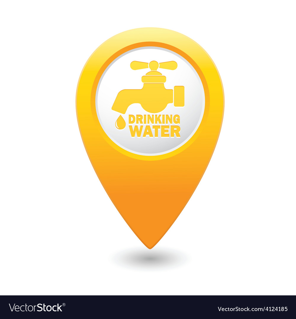 Drinking water MAP pointer yellow Royalty Free Vector Image on