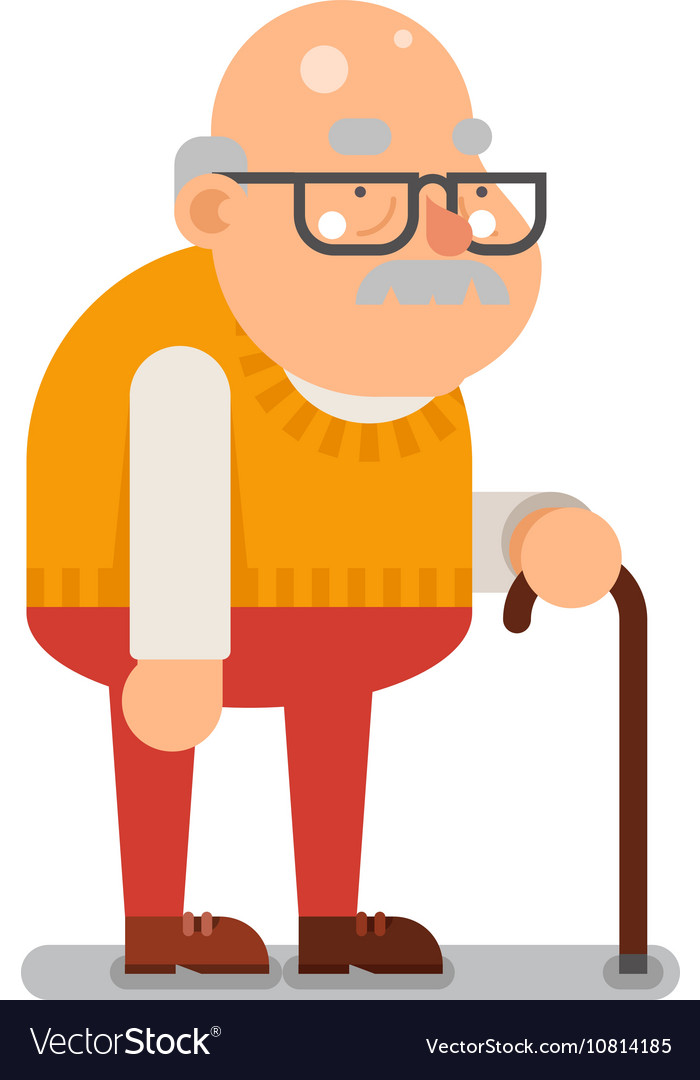grandfather old man character cartoon flat design vector image