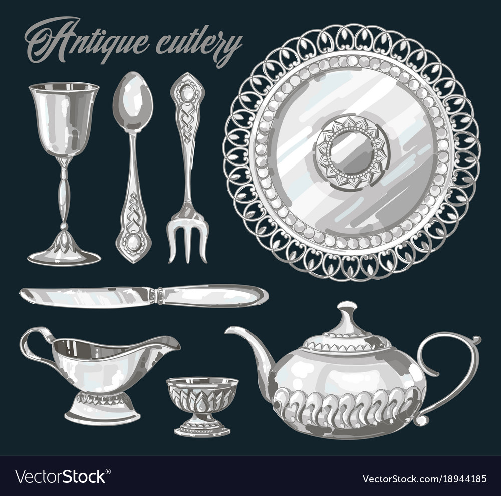 Hand drawn antique silver cutlery set vector image  sc 1 st  VectorStock & Hand drawn antique silver cutlery set Royalty Free Vector