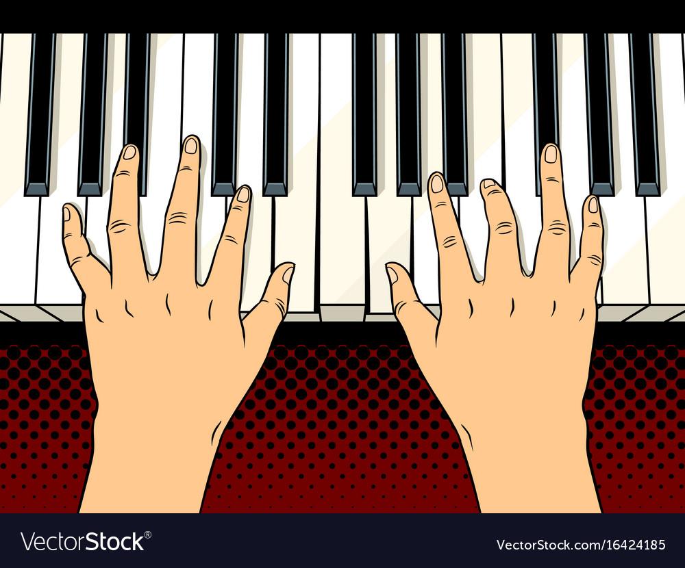 Hands On Piano Keys Pop Art Royalty Free Vector Image