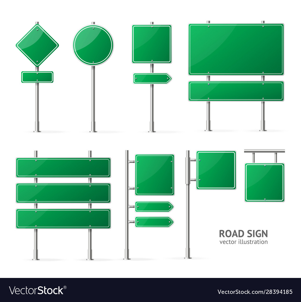 Realistic detailed 3d green blank road sign