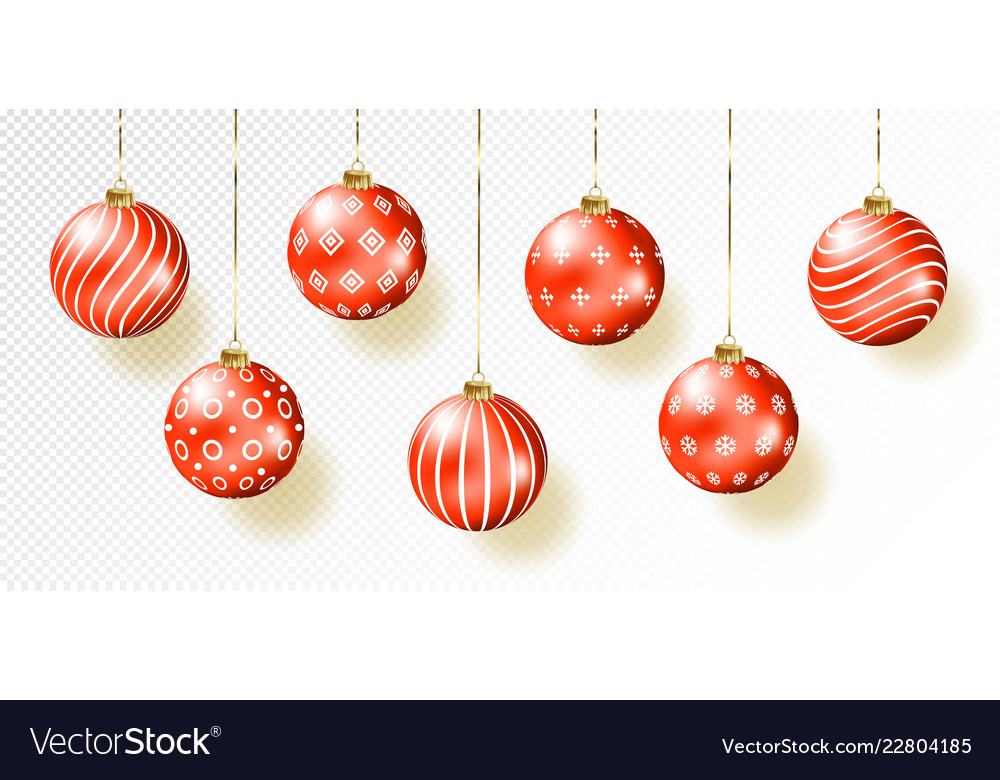 Red christmas balls on gift bows isolated on