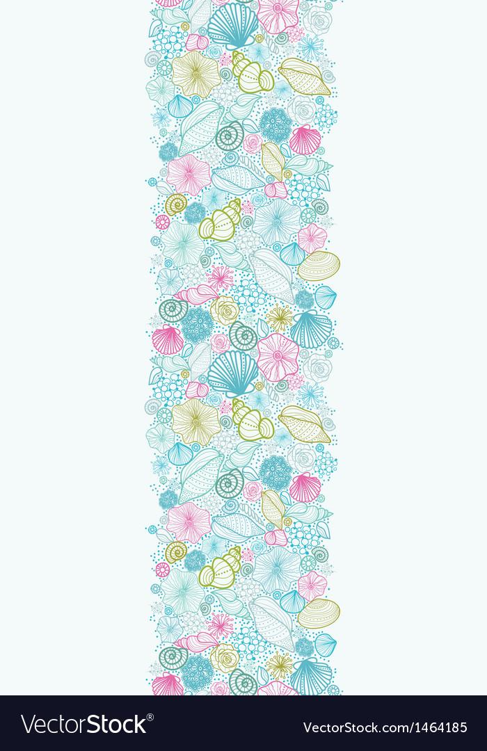 Seashells line art vertical seamless pattern
