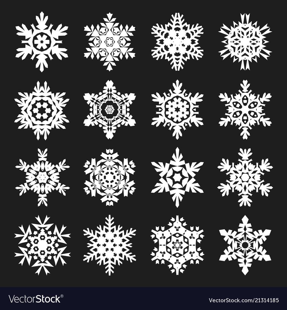 Stock snowflakes set black