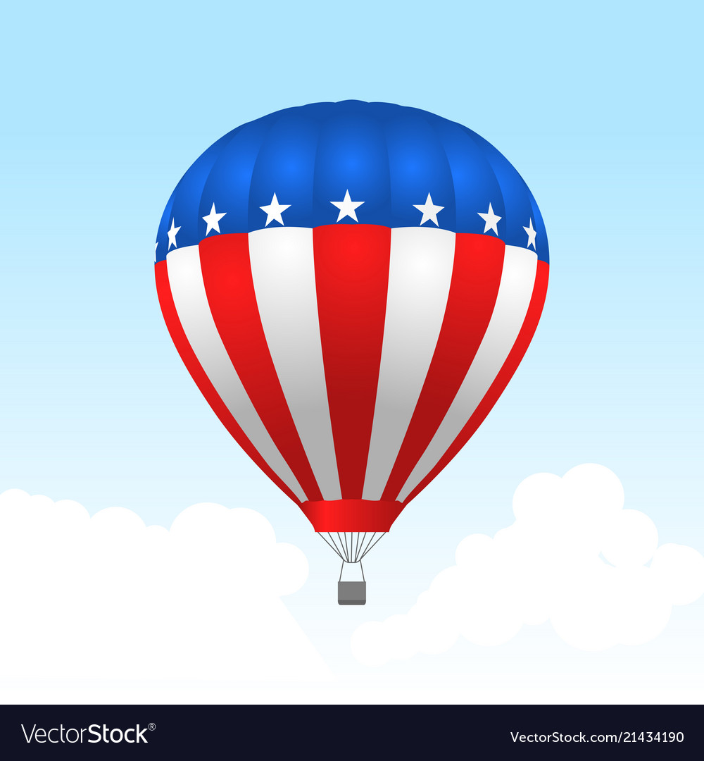 American hot air balloon with stars and stripes