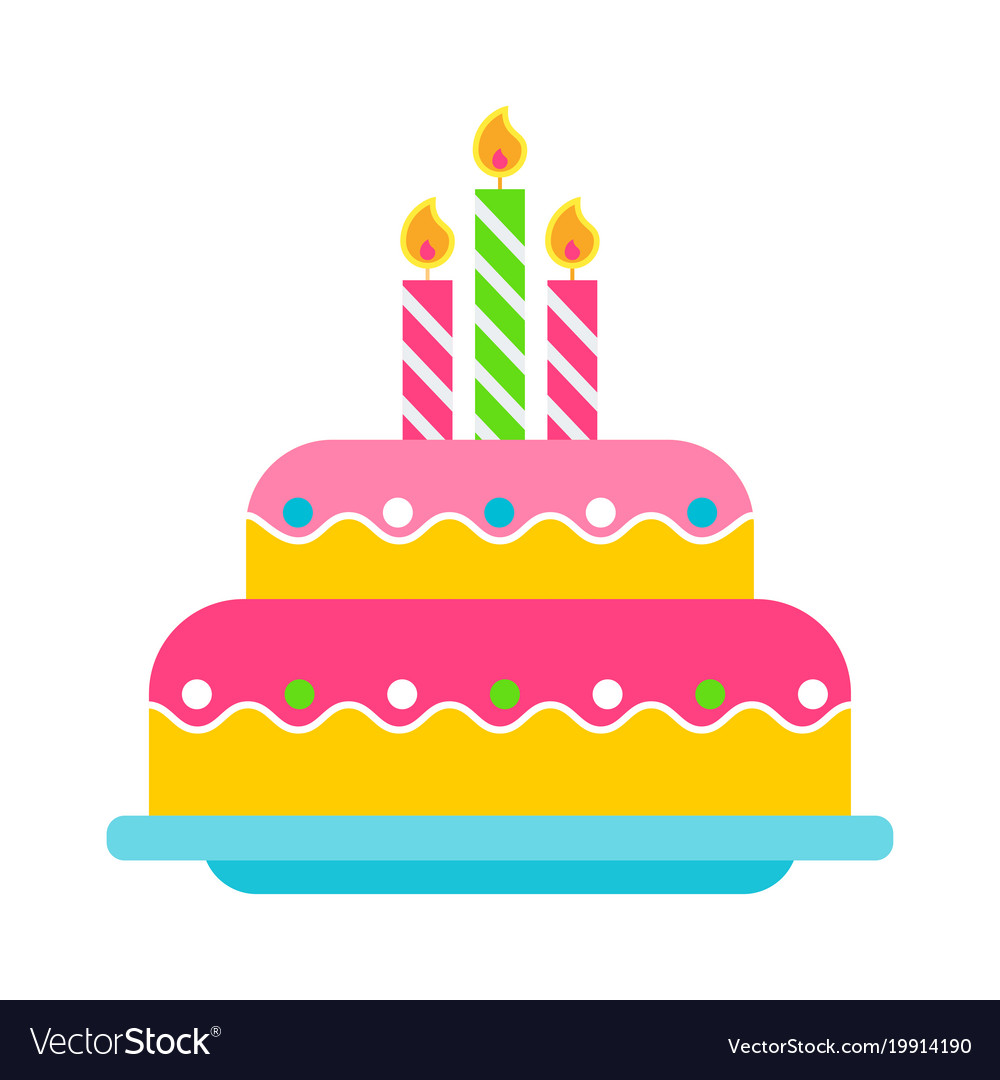 Birthday Cake Color Icon Royalty Free Vector Image