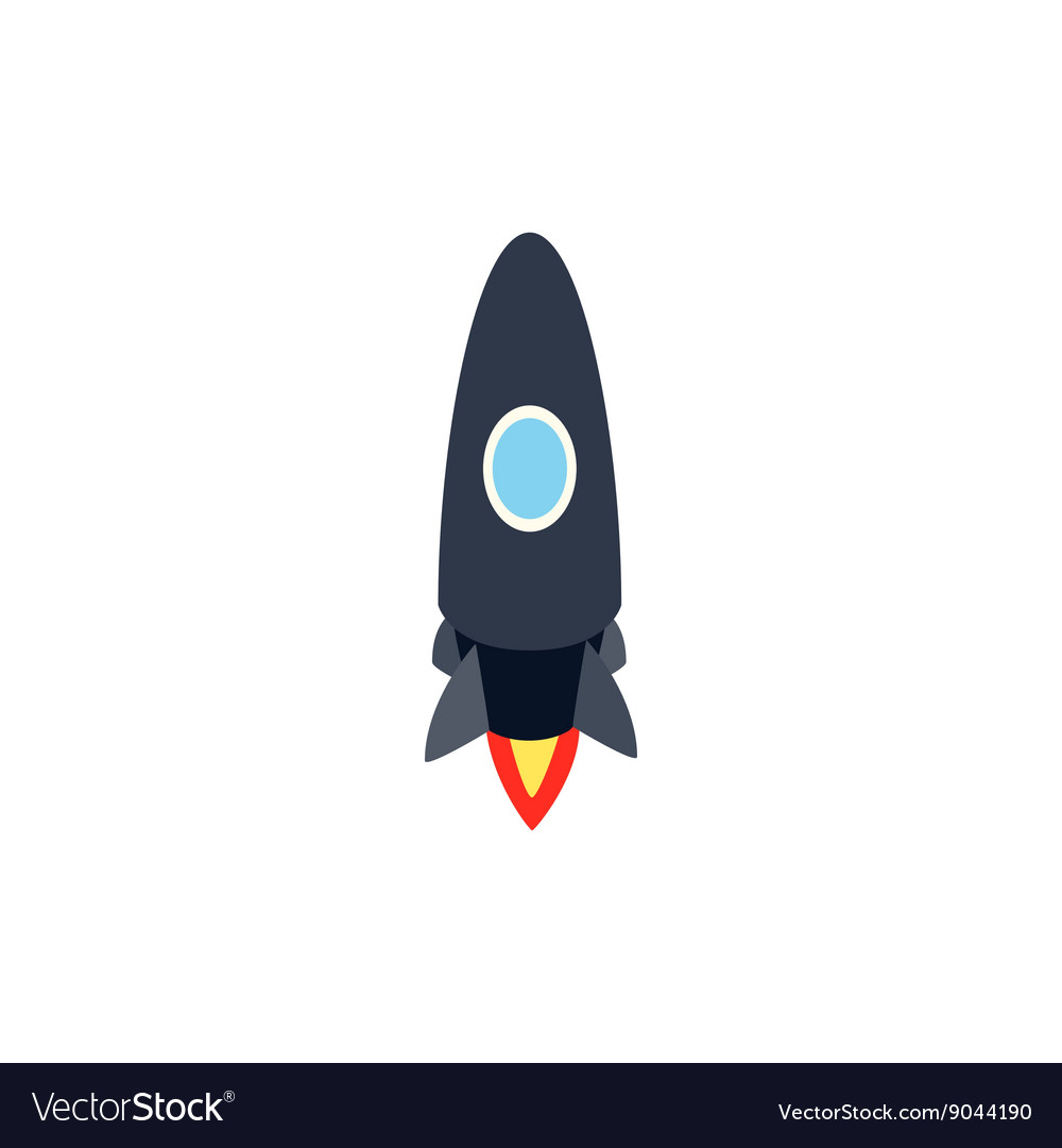 Black rocket icon isometric 3d style vector image
