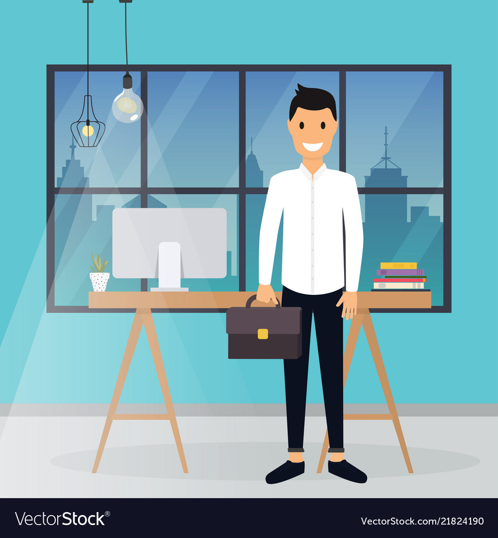 Business man working at his office desk flat